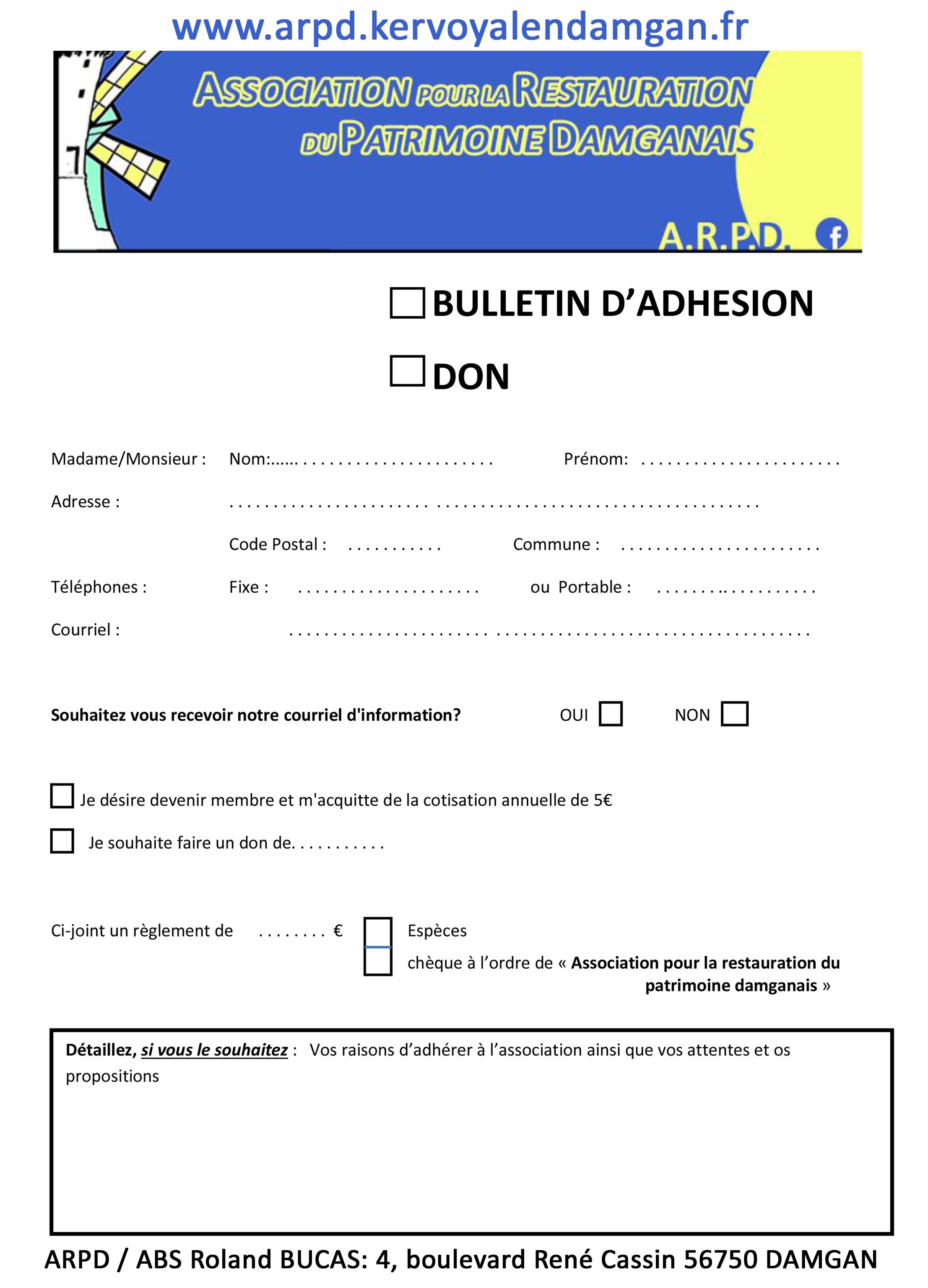 Bulletin d'adhésion à imprimer: