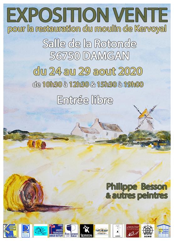 affiche expo moulin de kervoyal damgan aout 2020